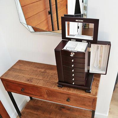 Dark Brown Jewelry Amoire Box Organizer 6 Drawer