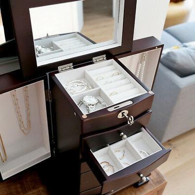 Dark Wooden Jewelry Amoire Storage 6