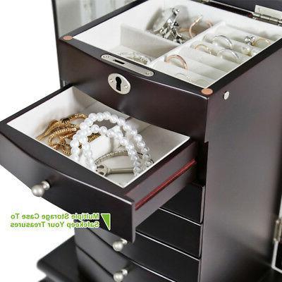 Dark Wooden 6 Drawer Cabinet+Mirror