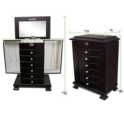 Dark Brown Amoire Box 6 Cabinet+Mirror
