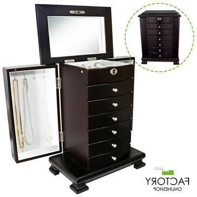 dark brown wooden jewelry amoire box organizer
