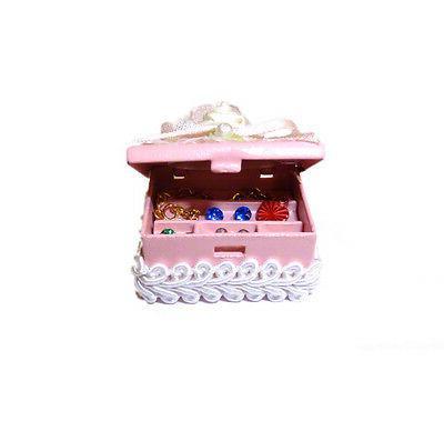 dollhouse miniature filled pink jewelry box