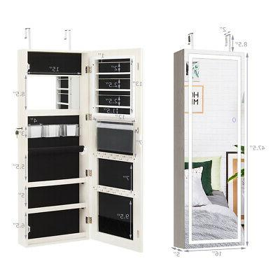 Jewelry Cabinet Mirror Touch Screen LED White