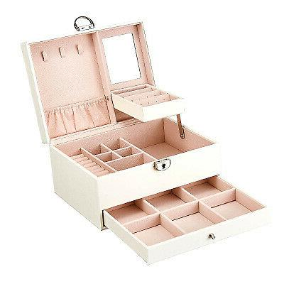 Double Jewelry Storage Display Box with Lock and Mirror US
