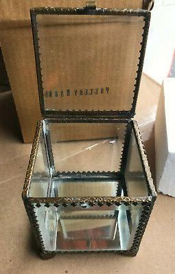 Pottery Barn Glass Jewelry Small Display Box NEW Mirrored Brass