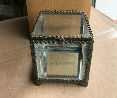 elaine glass jewelry small display box new