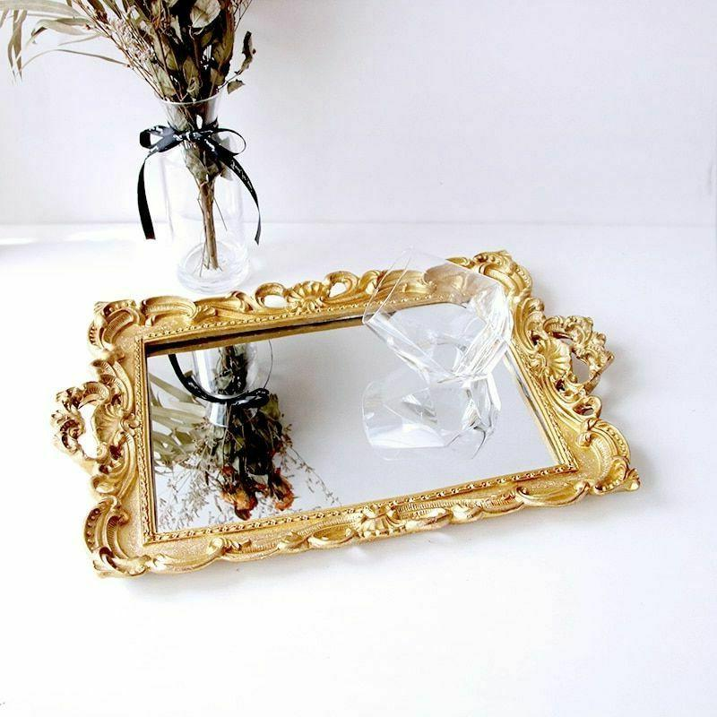 European Mirror Jewelry Tray Serving Dish Tray Home Decoration