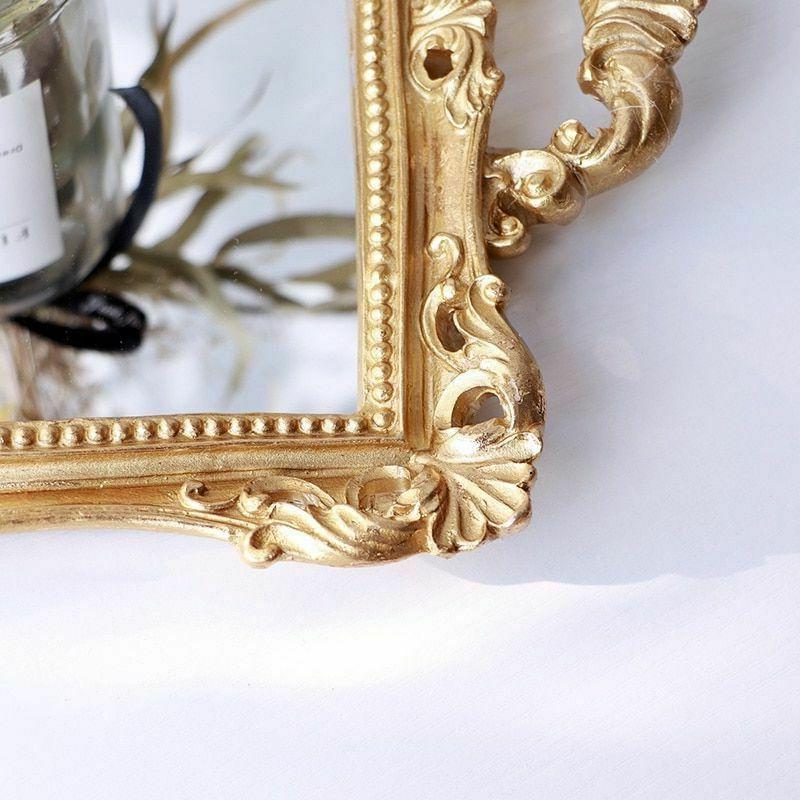 European Resin Mirror Tray Serving Tray