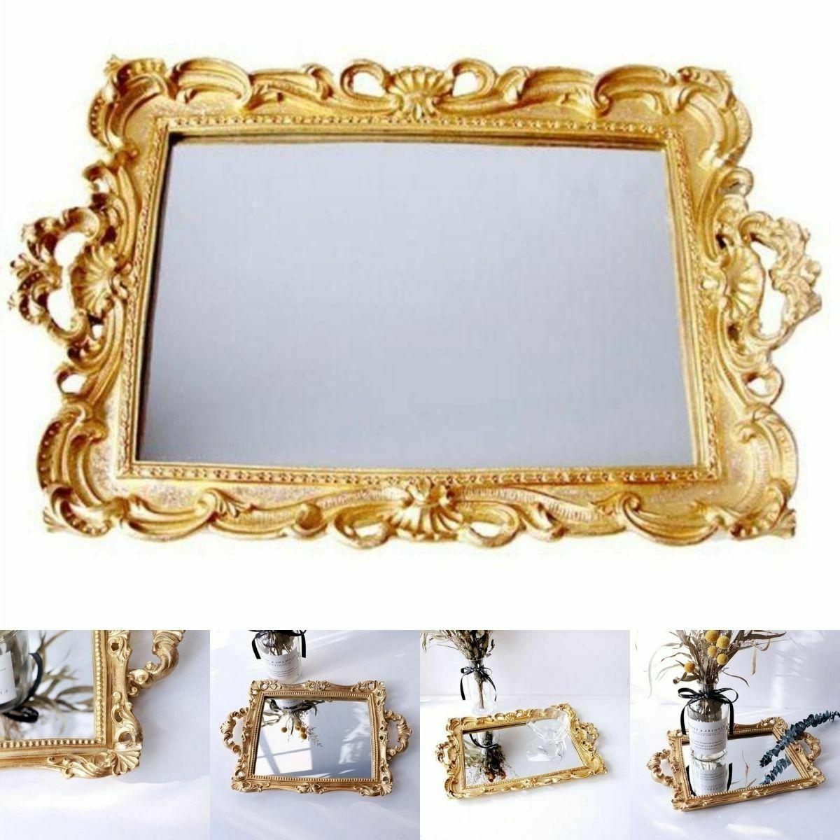 european resin mirror jewelry tray serving dish