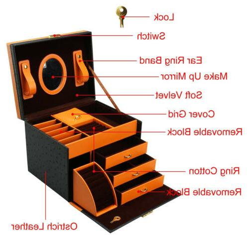 Faux Jewelry Treasure Storage Case Drawer and