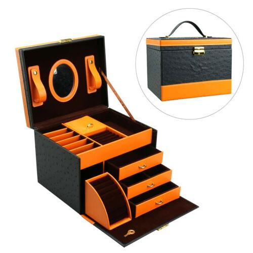 faux leather jewelry box treasure storage organizer