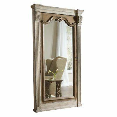 floor mirror with jewelry storage in white