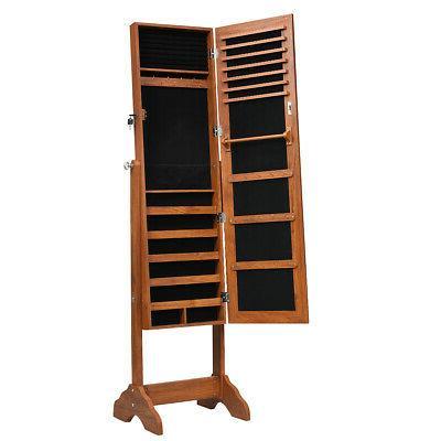 Freestanding Jewelry Cabinet Armoire Jewelry Size Mirror