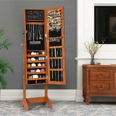 Freestanding Jewelry Cabinet Jewelry Organizer Size Mirror