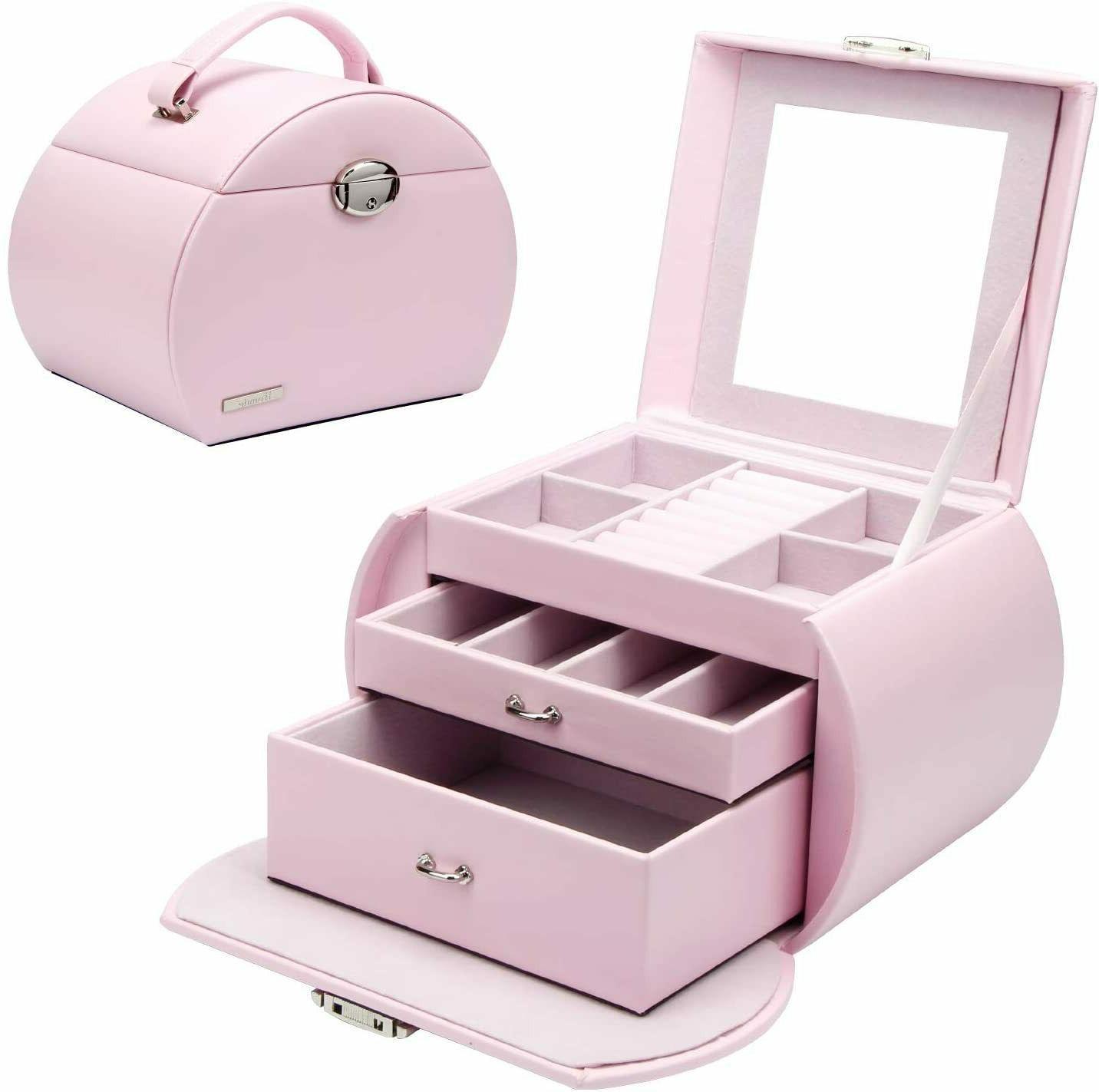 girls lovely jewelry box pink storage case