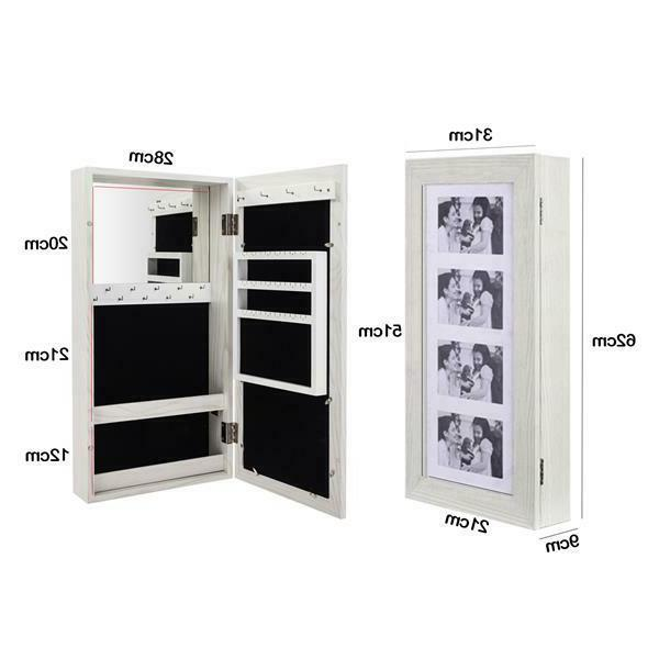 Hanging Wall Mount Display Jewelry Armoire Cabinet Organizer Box