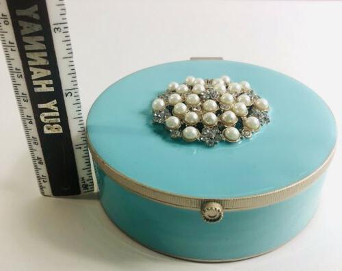 Nicole Miller Home Aqua Lacquered Bejeweled Pearl Trinket Jewelry Box w