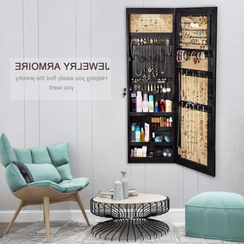 Jewelry Cabinet, Wood Organizer with Full Length Mirror