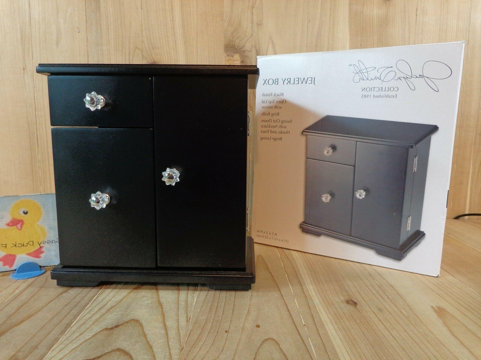 jewelry box black top lid mirror swing