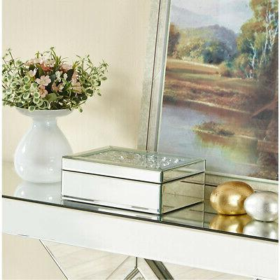 JEWELRY BOX MIRRORED SILVER CLEAR GLASS CRYSTALS VANITY DRES