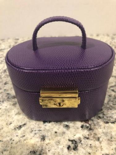 jewelry box travel purple lizard print gold