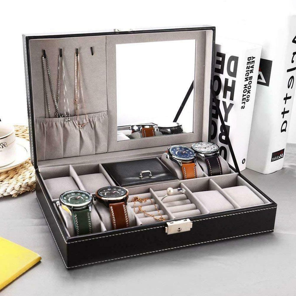 Jewelry Box Watch Organizer Storage Case With Lock And Mirro