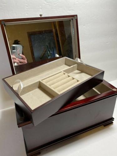 """Mele Jewelry Box Walnut Full Mirror 11"""" 8"""""""