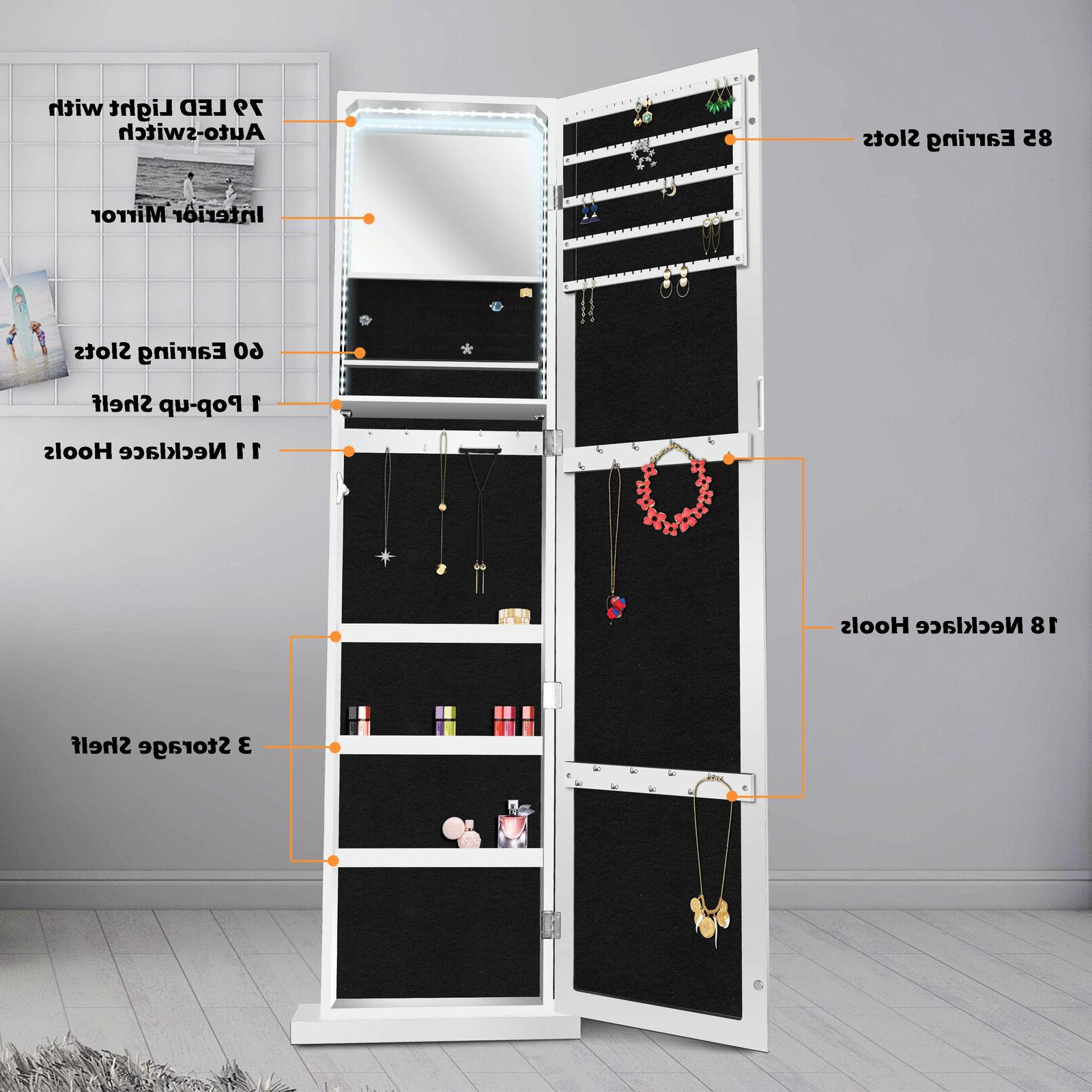 ENSTVER Jewelry Cabinet Standing Wall Organizer Full Length