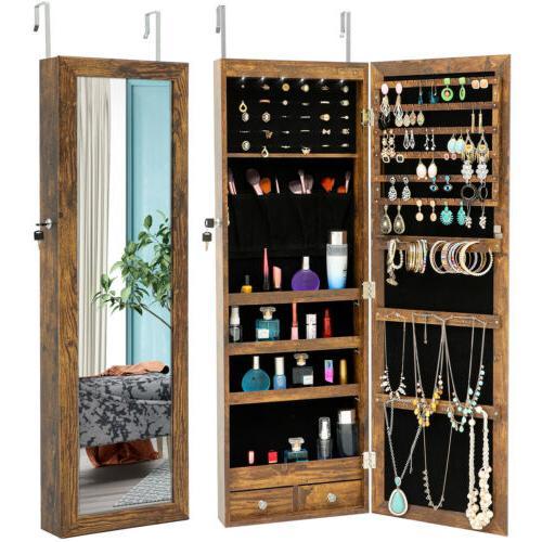 Mirrored Wall&Door Mounted Jewelry Cabinet Organizer Storage