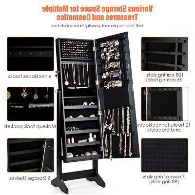 Jewelry Mirror Armoire Organizer Storage Black