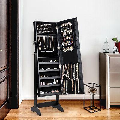 Jewelry Cabinet Stand Mirror Armoire Lockable Storage