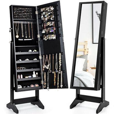 jewelry cabinet stand mirror armoire lockable organizer