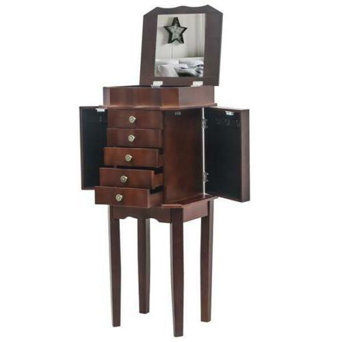 Necklace Jewelry Holder Cabinet Amoire Storage Brown Organiz