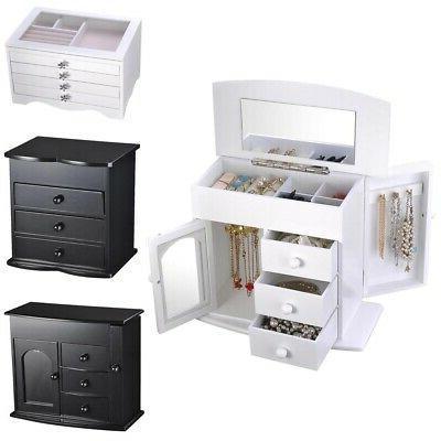 jewelry storage box case built in mirror