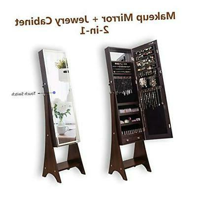 kedlan mirrored jewelry cabinet touch screen full