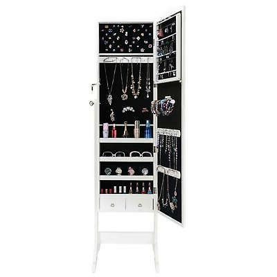 Large Lockable Solid Jewelry Mirror Cabinet Armoire Organizer With Drawer