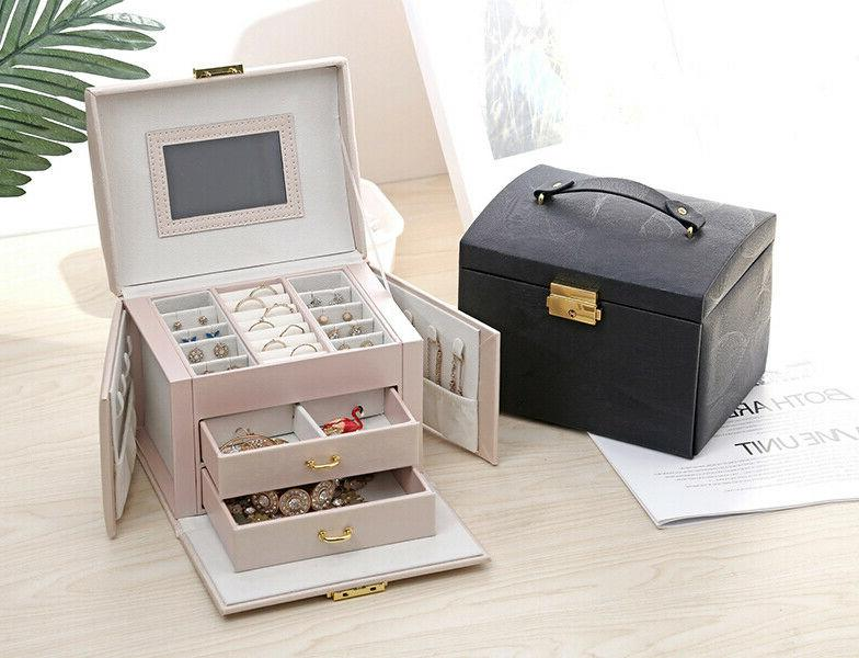 Leather Organize Case Display Box Mirror for Girl