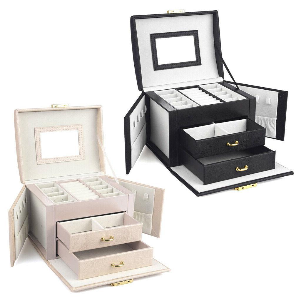 leather jewelry box organize case 3 layer