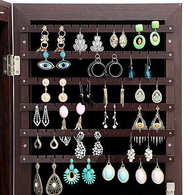 LED Lights Full mirror jewelry organizer Lockable