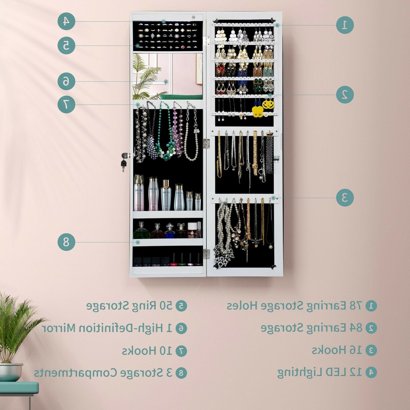 LED Mounted Jewelry Armoire Cabinet Full Length