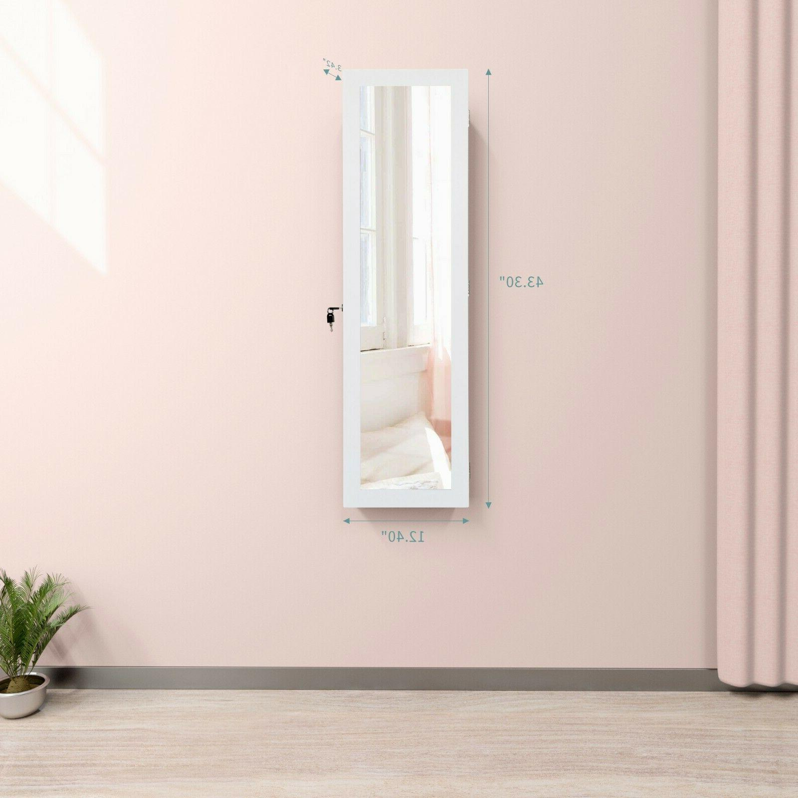 LED Mounted Armoire Cabinet Length Mirror,White