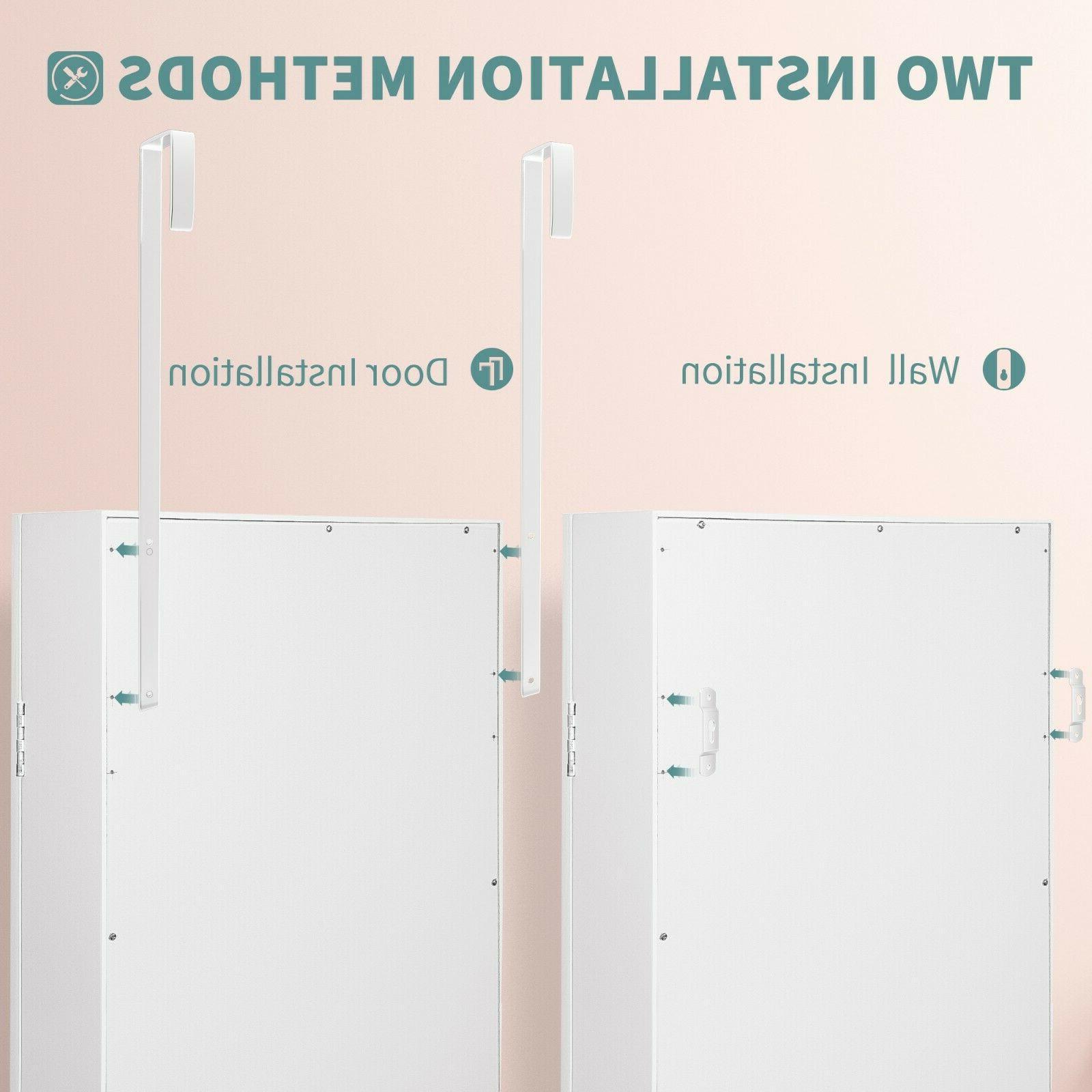 LED Armoire Cabinet Full Length Mirror,White