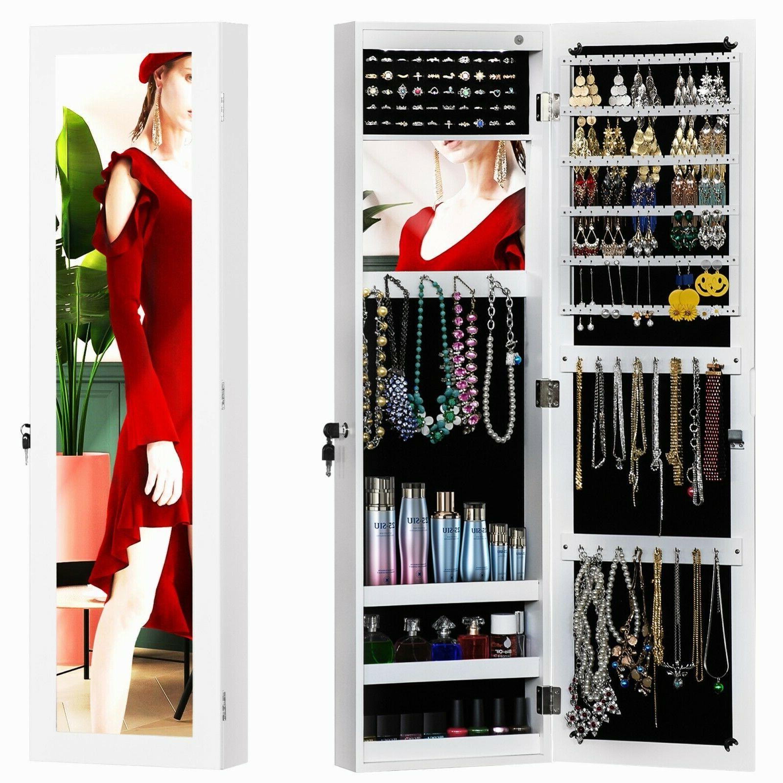 led wall door mounted jewelry armoire cabinet