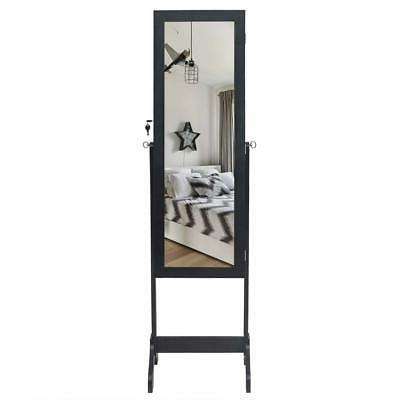 Lockable Mirror Jewelry Armoire Organizer Wall &