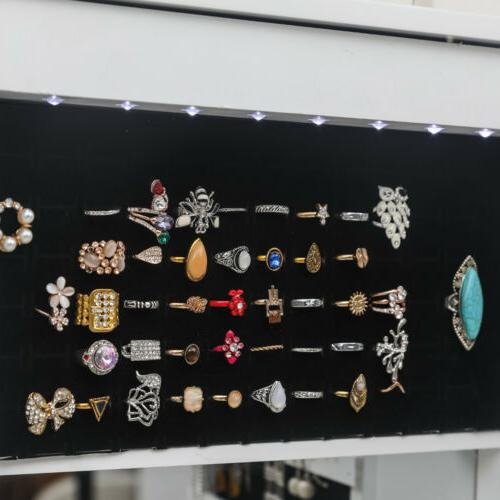 Lockable Jewelry Cabinet Wall Organizer with LED
