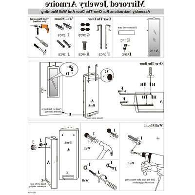Lockable Mirror Cabinet Dressing Armoire Mirror Organizer Storage Floor