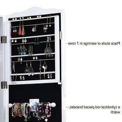 Lockable Jewelry Cabinet Dressing Mirror Organizer Storage Floor