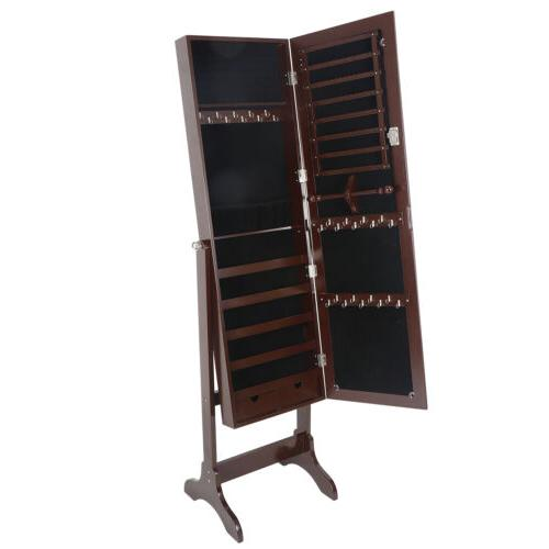 Lockable Jewelry Armoire Mirror Free Standing
