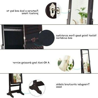 Lockable Jewelry Cabinet Armoire Organizer Stand