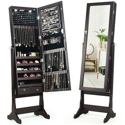 Lockable Mirrored Cabinet Armoire Organizer Stand
